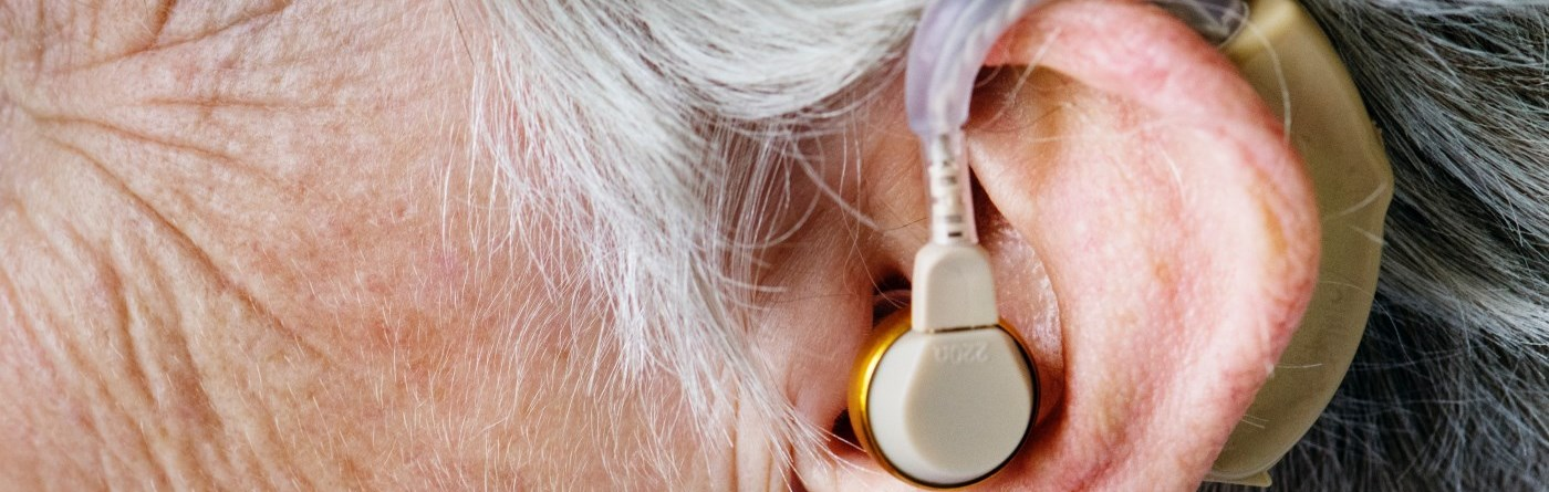 person wearing hearing aide